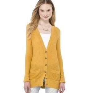 Caslon Boyfriend Cardigan Sweater - Mustard Yellow